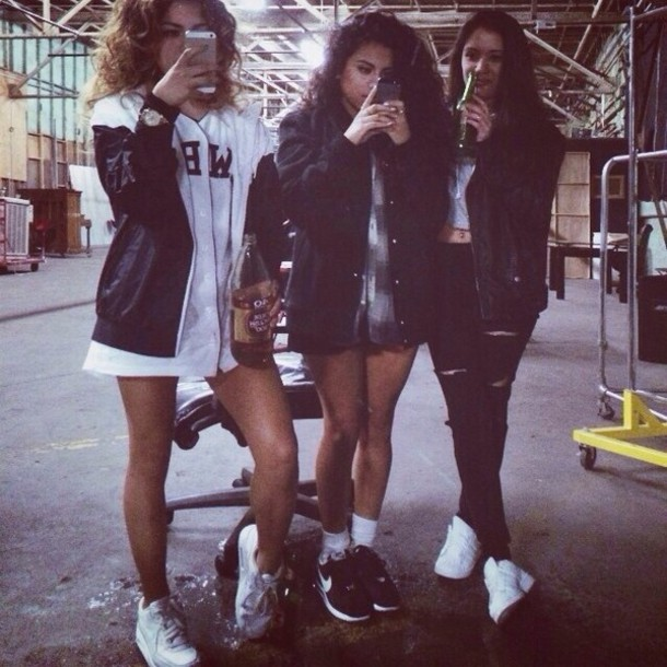 jacket black blue jacket urban girl big hair shoes nikes