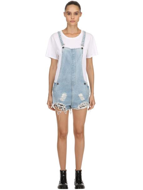 overalls short overalls short blue jumpsuit