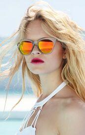 sunglasses,cat eye,orange,mirrored sunglasses,beach,retro sunglasses,summer accessories