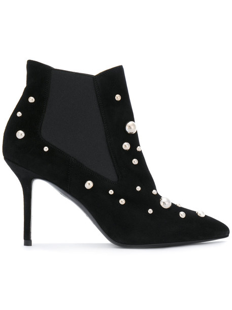 Premiata studded women pearl booties leather suede black shoes