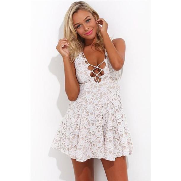 13ab1e2d5ede dress mischievous socialite skater mini lace short sleeve white lace up low  cut plunging sexy