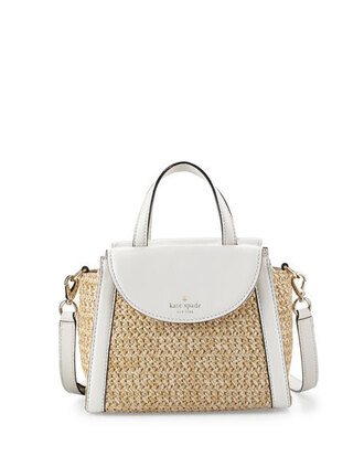 bag satchel bag straw bag kate spade white bag