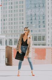 redsolesandredwine,blogger,top,sweater,tank top,dress,coat,jacket,chanel bag,leopard coat,fall outfits,high heel pumps