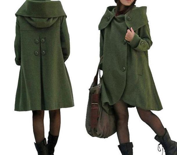 coat dark green coat cloak coat