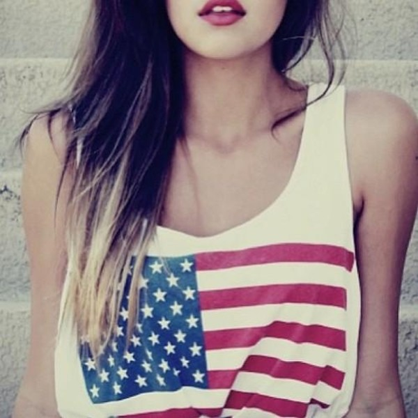 shirt top flag american flag vintage summer crop summer top