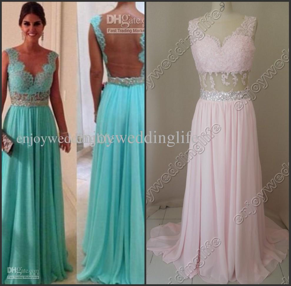Prom Dress - Discount Sexy Sleeveless Blue Chiffon Prom Dress Beaded ...