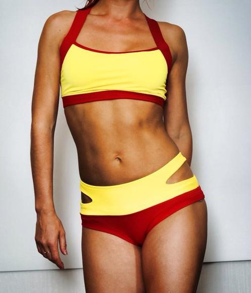yellow style sportswear sport bra set fitness