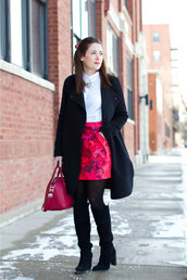 sequins and stripes,blogger,floral skirt,white shirt,knee high boots,black coat,shirt,skirt,tights,shoes,jewels,bag