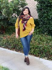 curvy girl chic - plus size fashion and style blog,blogger,sweater,jeans,scarf,bag,shoes