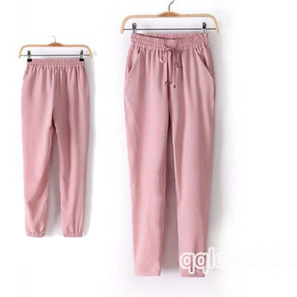 nude white chiffon pants pink sporty fashion style cute summer trendy girly comfy boogzel