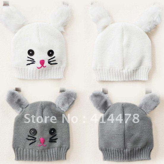 Free Shipping!2012 Newest Wholesale Cat Ear Wool Knitted Beanie Hats For Baby Girls/Boys Winter Warm,Korean Hats For Children-in Hats & Caps from Apparel & Accessories on Aliexpress.com