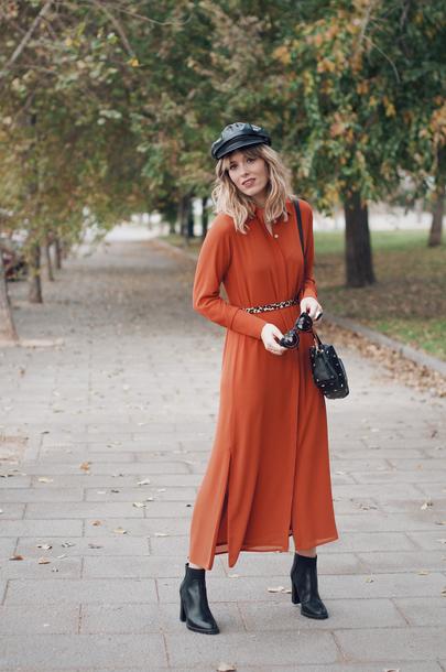 macarenagea blogger dress bag hat shoes belt red dress midi dress ankle boots shoulder bag