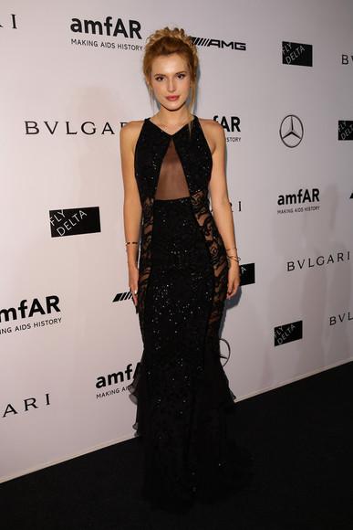 maxi dress dress black fashion week 2014 sheer bella thorne