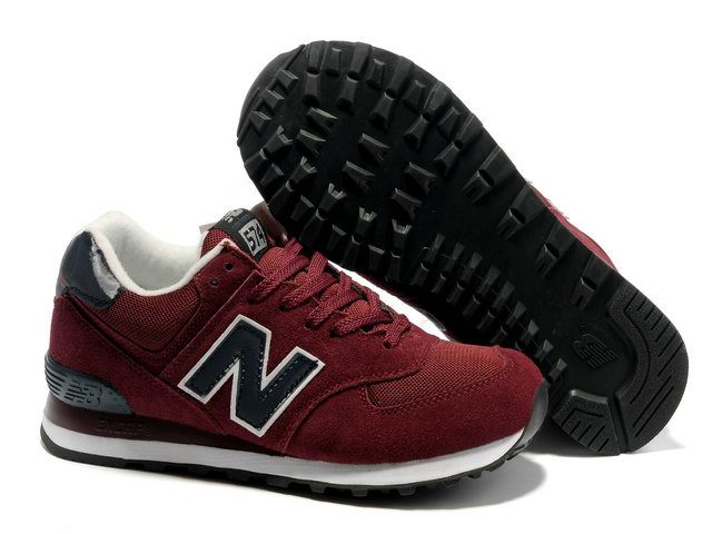 Cheap New Balance 574 2012 Classic Purplish Red Black Mens Shoes For Sale