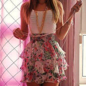dress,tiered skirt,skirt,ruffle,floral,floral dress,floral skirt,white,pink,high waisted,tank top,clothes,gold necklace,white tank top,short,pastel,elegant,cute,h&m,i'm in love,prom dress,green,top,layers,chi,chiffon,cute dress,flower skirt,sexy,short skirt,flowers,fashion,cool,style,pink skirt,shirt,jewels,white dress,mini skirt,ruffle skirt,ruffle floral skirt,ruffle mini skirt,mini,sweater,white top,rose,bling,gold,jewelry,exactly,exactly like this one,where to get this shirt?,kawaii,tumblr