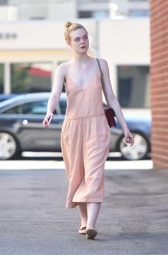 jumpsuit summer outfits elle fanning streetstyle pants wide-leg pants top nude