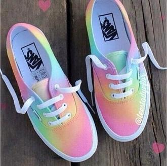 shoes vans rainbow colored