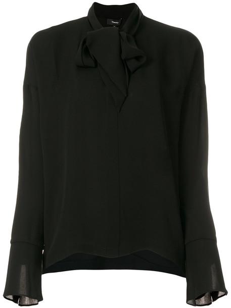 theory blouse high women high neck black silk top