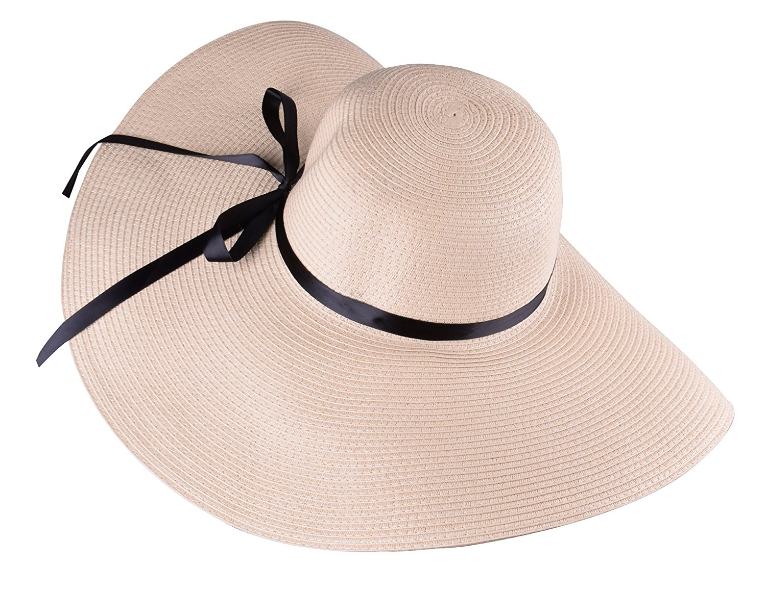 Beige Women Straw Hat Big Sun Hats Decorated with Black Ribbon ... 696414ba6d5