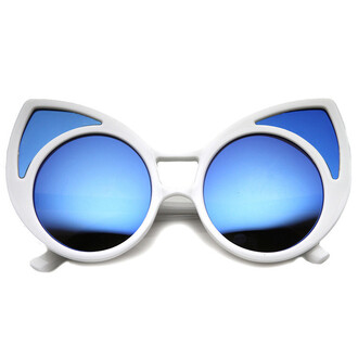 sunglasses white white sunglasses cat eye mirrored sunglasses