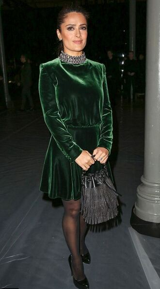 salma hayek velvet dress long sleeve dress winter dress green dress forest green fringed bag dress bag christmas dress long sleeves fringes mini dress tights celebrity style celebrity
