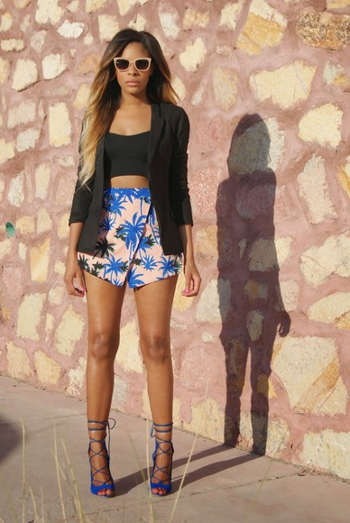 floral skirt flowers black bralette bra outfit streetstyle skirt style high heels bandeau blue heels ombre ombre hair blue heels ankle strap classy glasses paradise hawaiian hawaiian print blazer black blazer
