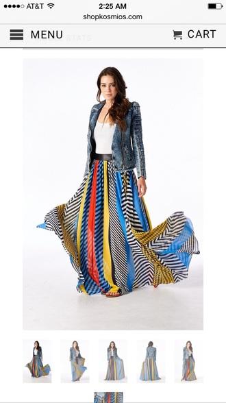 dress long maxi skirt bold colors skirt gypsy maxi skirt maxi skirt multicolor