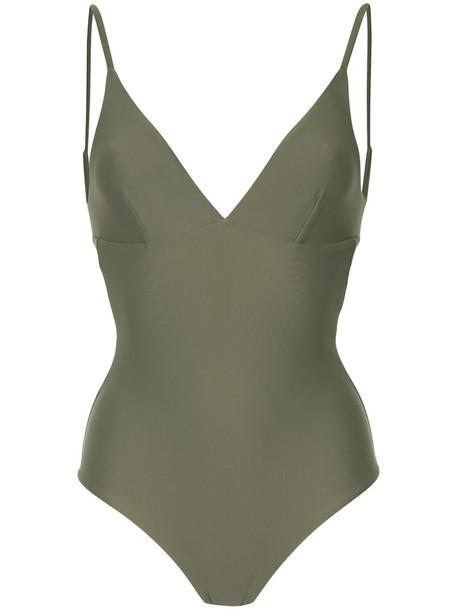 women spandex green swimwear
