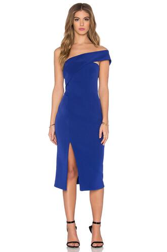 dress one shoulder dress blue