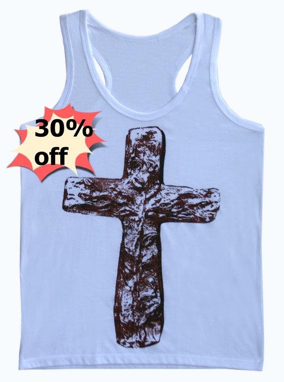 Cross shirt white tank top size s,m,l,xl jesus women clothing