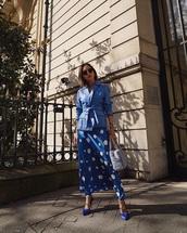 dress,jacket,blue jacket,shoes,blue shoes,maxi dress,polka dots,polka dots dress,All blue outfit,all blue