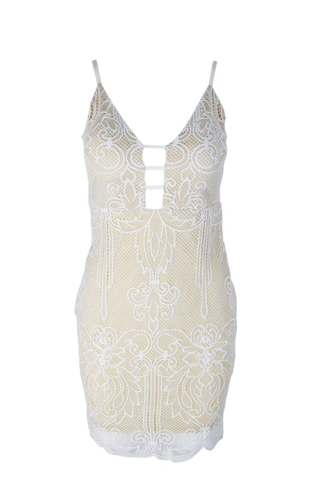 5c70e62170f White Lace Overlay With Contrast Bbeige Lining Dress on Storenvy