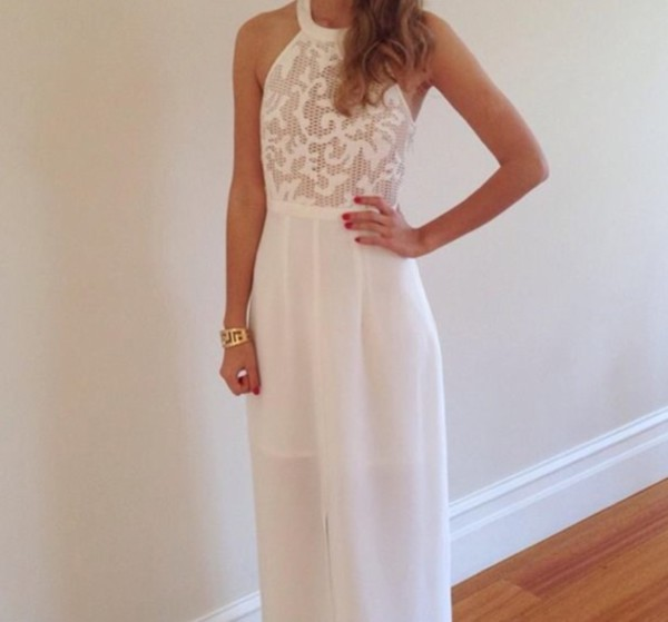 white dress maxi dress high neck lace dress dress