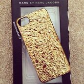 phone cover,gold,gold case,iphone case,iphone 5 case,marc jacobs,marc by marc jacobs,apple iphone,original,beautiful,tumblr,tumblr outfit