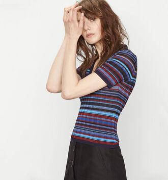 t-shirt jacquard knitwear short sleeve