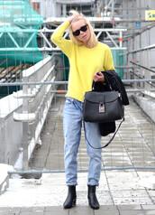 victoria tornegren,jeans,shoes,sweater,bag,sunglasses,boyfriend jeans