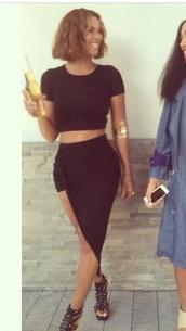 skirt,black,black skirt,split skirt,side slit,slit skirt,beyonce