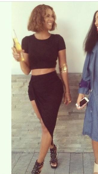 skirt beyoncé black black skirt midi skirt split skirt side slit slit skirt beyoncé xo