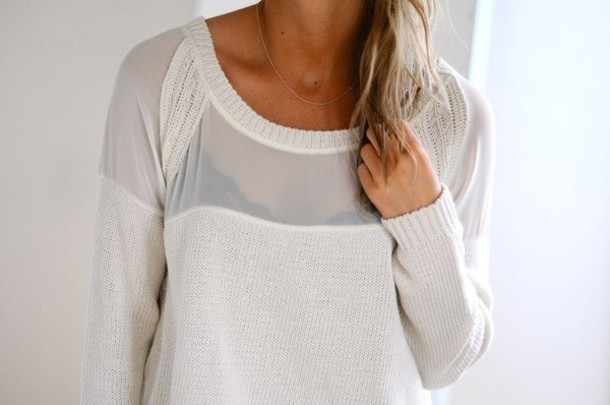 sweater white sweater sheer and knit mix white sheer shirt knitted shirt comfy sheer shirt fall outfits