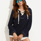 Navy lace-up long sleeve hooded t-shirt -shein(sheinside)
