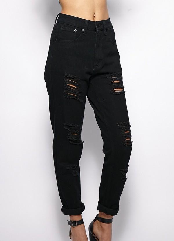 Rhianne Black Ripped Boyfriend Jeans - jeans - prettylittlething ...