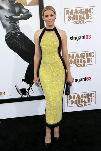 dress gown midi dress elizabeth banks yellow dress bodycon