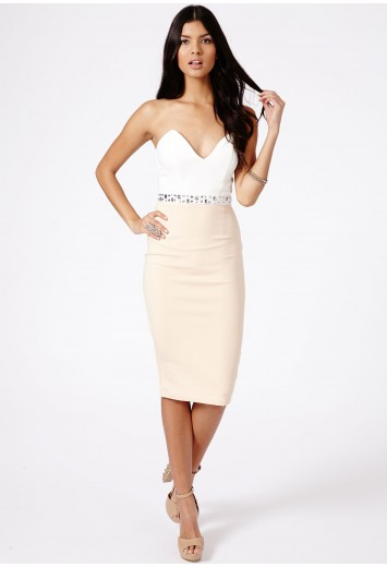 Goda Strapless Embellished Waist Contrast Bodycon Midi Dress - Dresses - Midi Dresses - Missguided