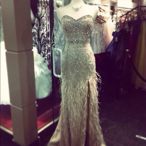 dress open leg dress off-white beaded top prom dress