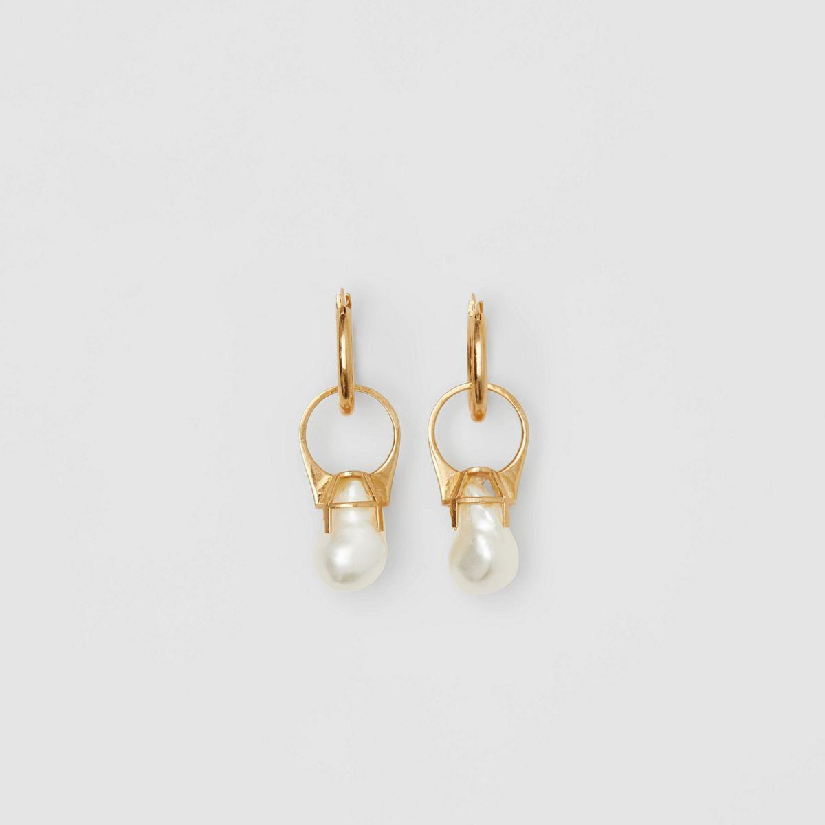 Faux Pearl Ring Detail Gold-plated Hoop Earrings
