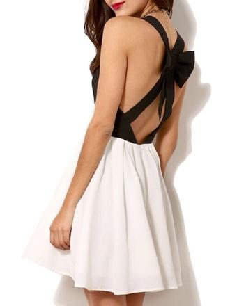 dress bow dress black and white dress