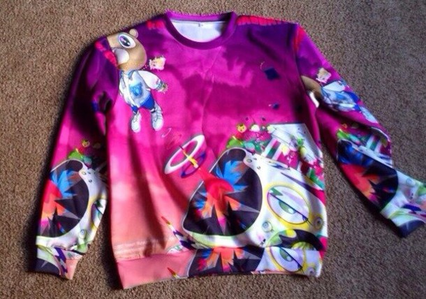 sweater purple printed sweater