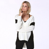 sweater,quality,deep v,white,black and white,casual,luxury,ling sleeves,knitwear,knit,knitted top,knit pullover,knitted sweater,slit,slit jumper,oversized sweater,oversized,loose,comfy,winter outfits,autumn top,preppy,casual top,women casual,all white everything,asymmetrical,asymmetrical top,cute,cute top,girly,cool,hot,warm,preppy musthave,pretty,fashion,fashion top,sexy,lobg top,long sweater,long jumper,moraki,style,stylish,streetwear,streetstyle,urban