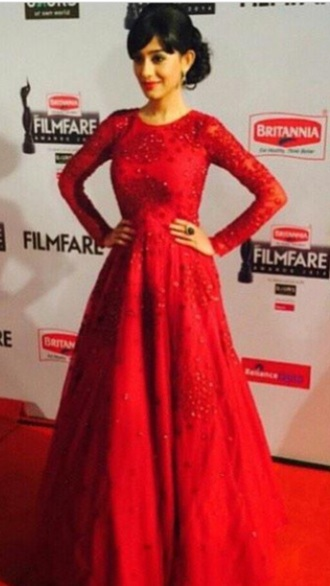 dress amritarao red red dress gown elegant cute dress evening dress prom dress tumblr outfit tumblr bollywood anarkali suits exotic long dress long prom dress long sleeves long sleeve dress long prom dresses fashion outfit beautiful actress