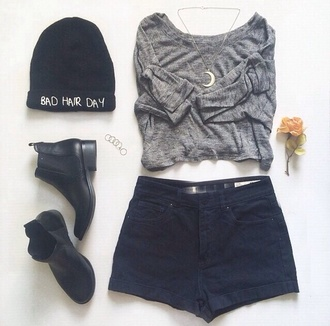 shoes boots leather boots jewels moon beanie grey ankle boots hair accessory chelsea boots